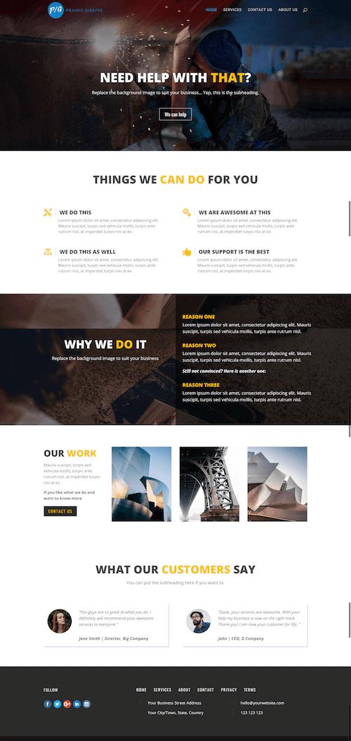business web design, Prairie Giraffe, Gillette, Wyoming